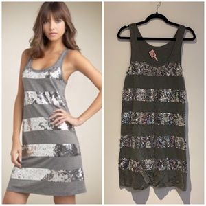 Juicy Couture silver sequin stripe tank dress L